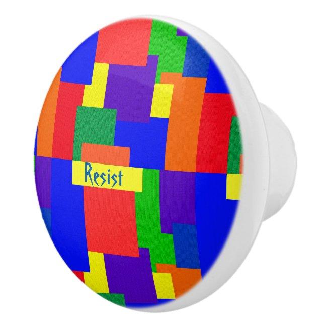 Rainbow Resist Patchwork Quilt Ceramic Knob