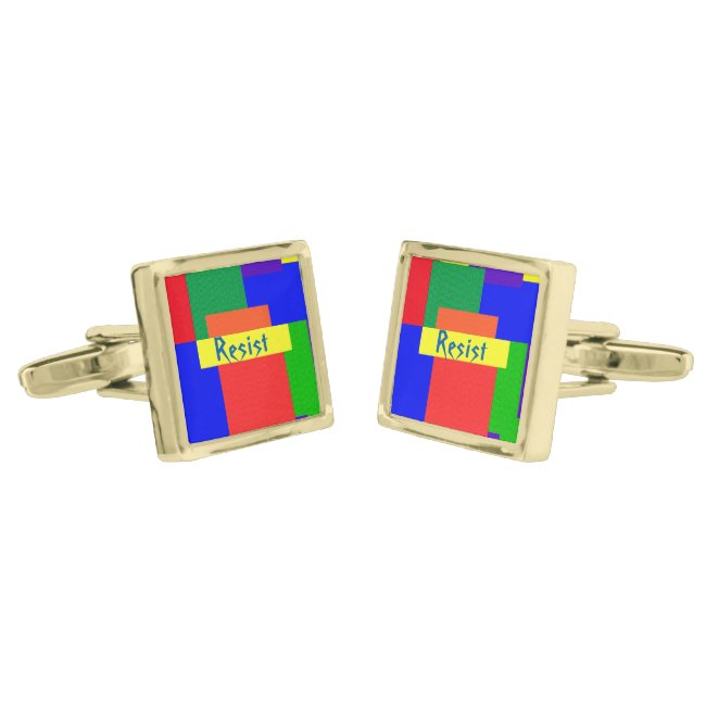 Rainbow Resist Patchwork Quilt Design Cufflinks