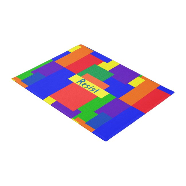 Rainbow Resist Patchwork Quilt Design Door Mat