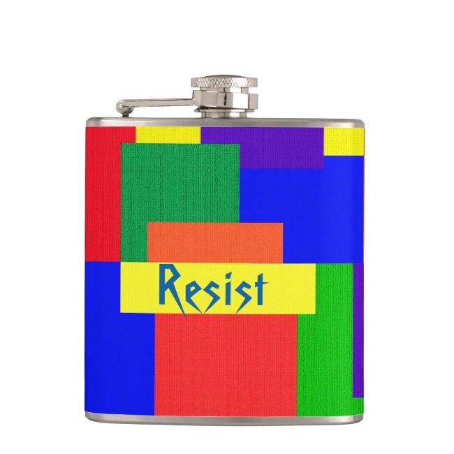 Rainbow Resist Patchwork Quilt Design Flask