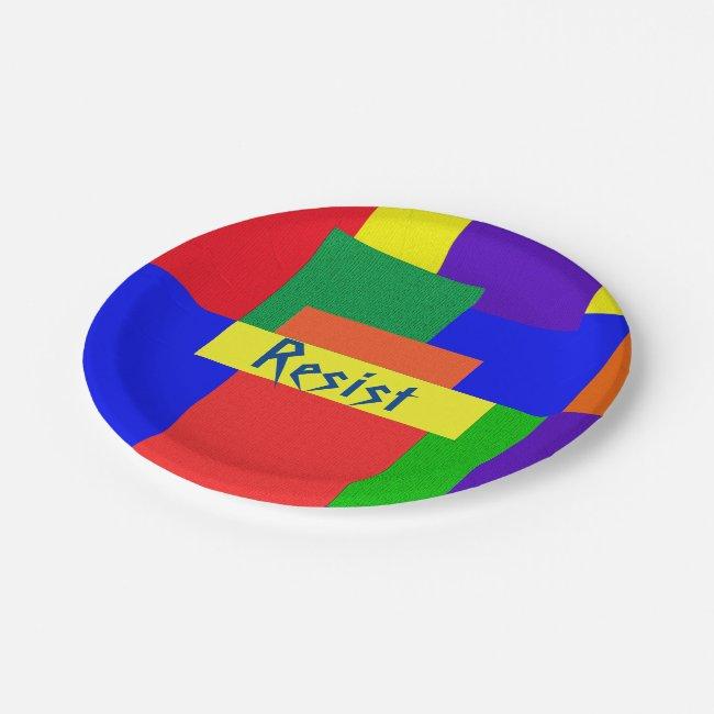 Rainbow Resist Patchwork Quilt Design Paper Plates