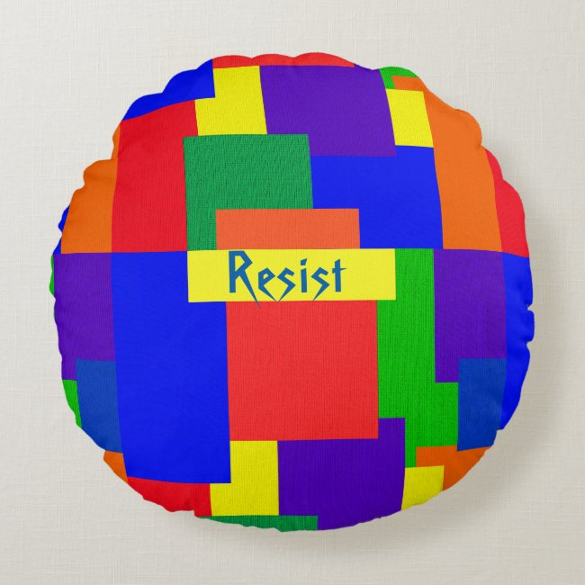 Rainbow Resist Patchwork Quilt Design Round Pillow