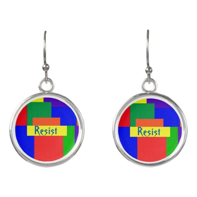 Rainbow Resist Patchwork Quilt Drop Earrings
