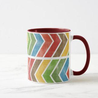 Rainbow Retro Arrows Print 11 oz Ringer Mug
