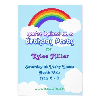 Rainbow retro Birthday Invite