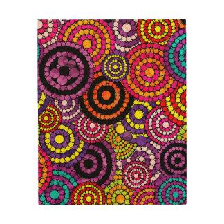 Rainbow Retro Bling Abstract Pattern Wood Wall Art