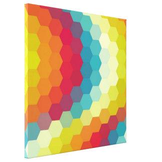 Rainbow Retro Hexagonal Seamless Pattern Canvas Print