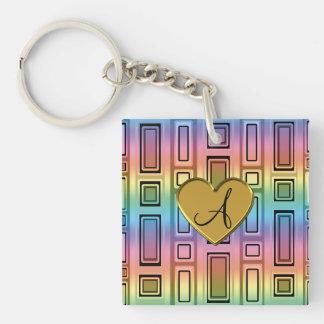 Rainbow retro squares monogram Single-Sided square acrylic keychain