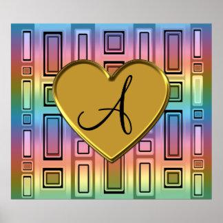 Rainbow retro squares monogram posters
