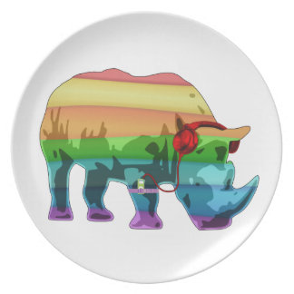 Rainbow Rhino Melamine Plate