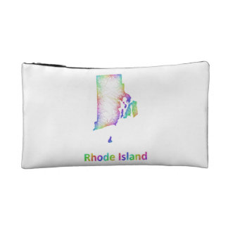 Rainbow Rhode Island map Cosmetic Bag