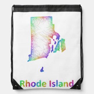 Rainbow Rhode Island map Drawstring Bag