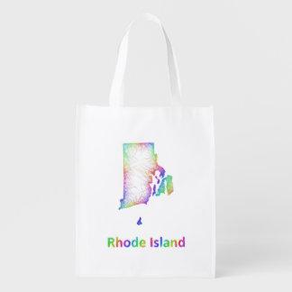 Rainbow Rhode Island map Reusable Grocery Bag