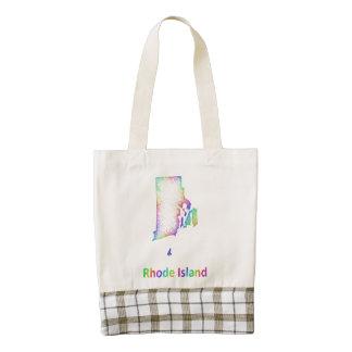 Rainbow Rhode Island map Zazzle HEART Tote Bag