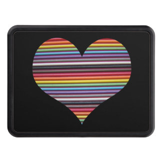 Rainbow Ribbon Cable Heart Hitch Cover