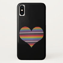 Rainbow Ribbon Cable Heart iPhone X Case
