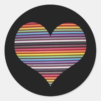 Rainbow Ribbon Cable Heart Round Sticker