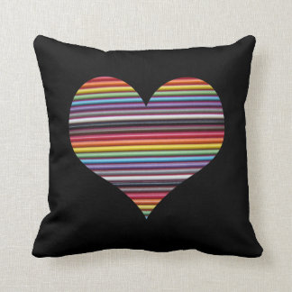 Rainbow Ribbon Cable Heart Throw Pillow