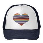 Rainbow Ribbon Cable Heart Trucker Hat