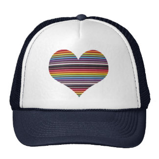 Rainbow Ribbon Cable Heart Trucker Hat