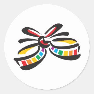 Rainbow Ribbon Classic Round Sticker