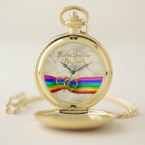 Rainbow Ribbon Double Hearts Wedding Faux Golden Pocket Watch