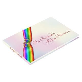 Rainbow Ribbon Double Hearts Wedding Guestbook