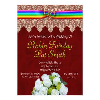 Rainbow Ribbon Double Hearts Wedding Invitation 13