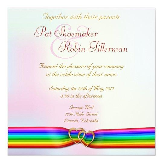 Awesome Rainbow Ribbon Double Hearts Wedding Invitation 2