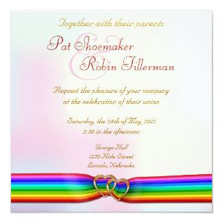 "Rainbow Ribbon Double Hearts Wedding Invitation 2 5.25"" Square Invitation Card"