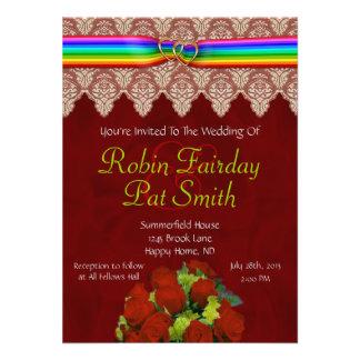 Rainbow Ribbon Double Hearts Wedding Invite 13B