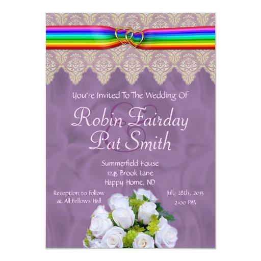 Rainbow Ribbon Double Hearts Wedding Invite 15B