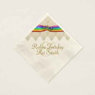 Rainbow Ribbon Double Hearts Wedding Napkin 12C