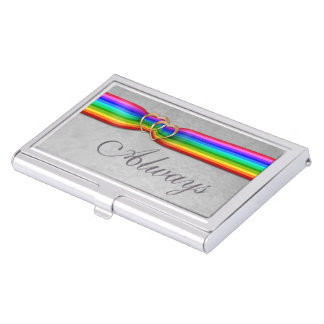 Rainbow Ribbon Entwined Gold Hearts-Bus. Card Case