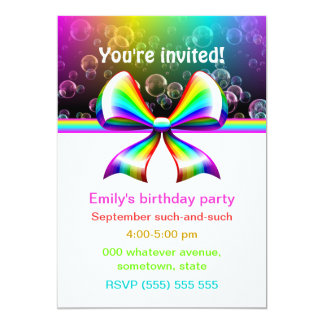 Rainbow ribbon party invitations (customizable!)