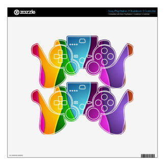 Rainbow Ribbons Decal For PS3 Controller