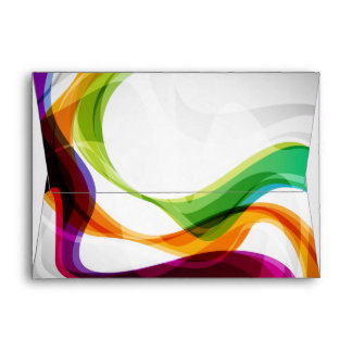 Rainbow Ribbons Swirling - 1 Envelope
