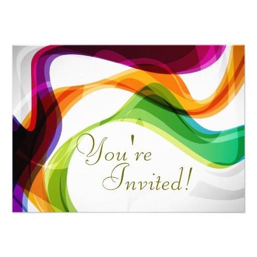 Rainbow Ribbons Wedding Invitation   1
