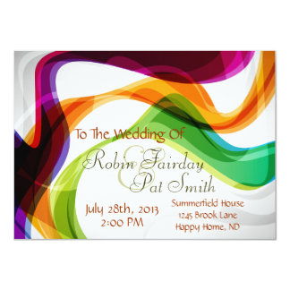Rainbow Ribbons Wedding Invitation - 1-Special