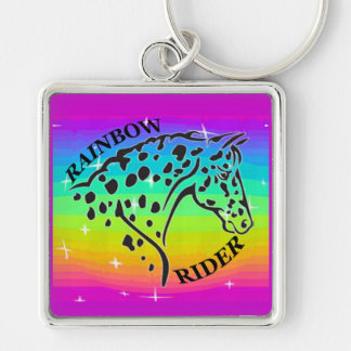 RAINBOW RIDER Silver-Colored SQUARE KEYCHAIN