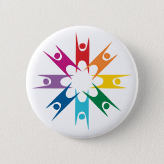 Rainbow Ring of Humanists Pinback Button