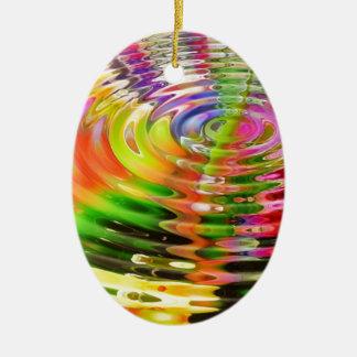 Rainbow Ripples Ceramic Ornament