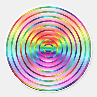 Rainbow Ripples Classic Round Sticker