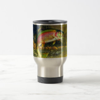 Rainbow River Trout Jumping Travel Mug