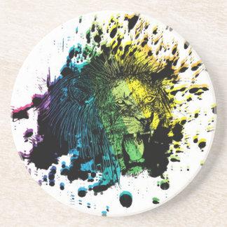 Rainbow Roaring Lion Sandstone Coaster