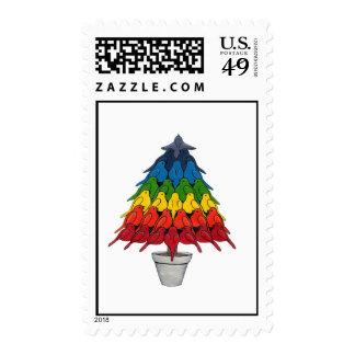 Rainbow Robins Christmas Tree Postage
