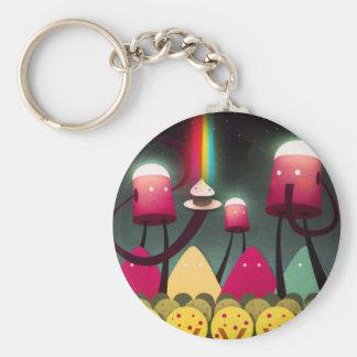 Rainbow Robot Cupcake Keychain