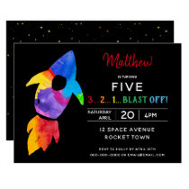 Rainbow Rocket Ship Outer Space Birthday Party Invitation
