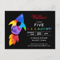 Rainbow Rocket Ship Outer Space Birthday Party Invitation Postcard