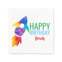 Rainbow Rocket Ship Outer Space Birthday Party Napkins
